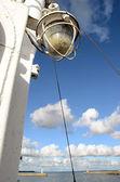 Sea bay wharf landscape with ship lamp — Stock Photo