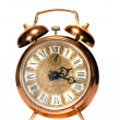 Isolated  vintage brass alarm-clock — Stockfoto