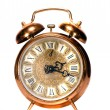 Isolated  vintage brass alarm-clock — Stok fotoğraf