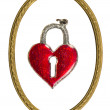Isolated valentine heart form lock and retro frame — Stock Photo