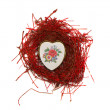 Isolated valentine day nest with heart form  box — Stock Photo