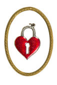 Isolated valentine heart form lock and retro frame — Stockfoto