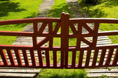 Wooden painted gate near house — Stock Photo