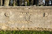 Historiska kyrkogården staket vägg bakgrund — Stockfoto