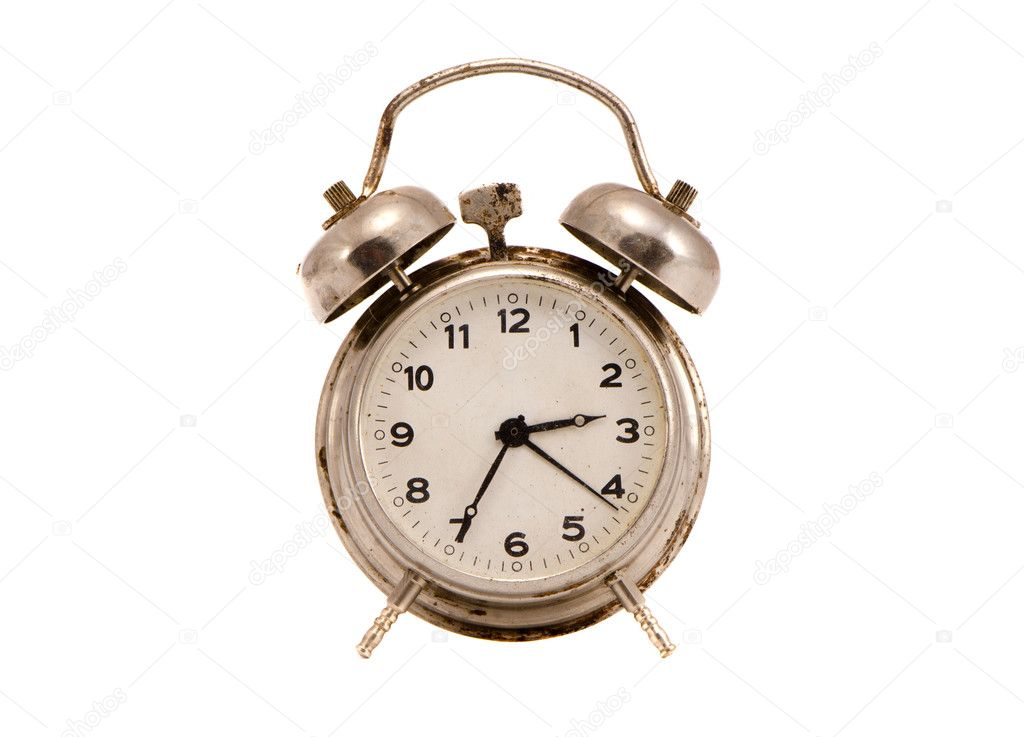 Isolated on white and grungy vintage metal clock — Stock Photo #9663945