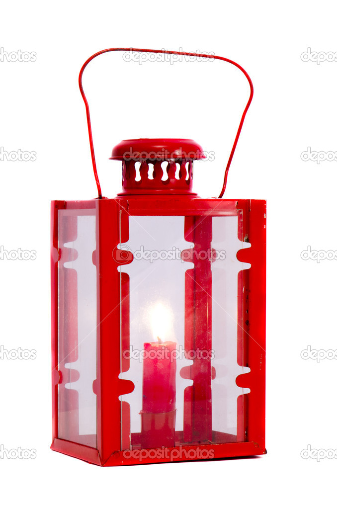 Isolated on white red lamp with candle — Stockfoto #9924307