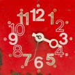 Red and old clock face — Foto Stock