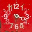 Red and old clock face — Stockfoto
