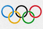 Olympic rings oil painting background — Stock Photo