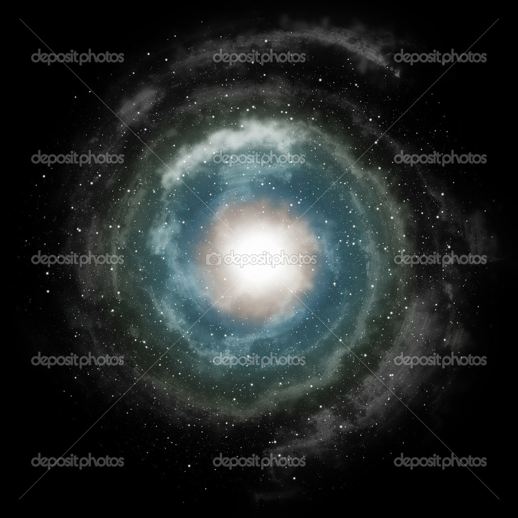 Spiral galaxy against black space and stars in deep outer space — Stock Photo #9118591