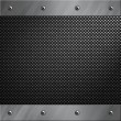 Brushed aluminum frame bolted to a carbon fiber background — Stock Photo #9293672