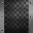 Brushed aluminum frame bolted to a carbon fiber background — Stock Photo #9293880