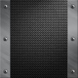 Brushed aluminum frame bolted to a carbon fiber background - Stock Photo