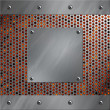 Brushed aluminum frame and plate bolted to a perforated metal over fire, hot lava or melted metal - Stockfoto
