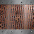 Brushed aluminum frame bolted to a perforated metal over fire, hot lava or melted metal — Stockfoto