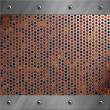 Brushed aluminum frame bolted to a perforated metal over fire, hot lava or melted metal - Stockfoto
