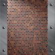 Brushed aluminum frame bolted to a perforated metal over fire, hot lava or melted metal - Stock Photo