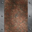 Brushed aluminum frame bolted to a grudge and rusted diamond metal background - Stock Photo
