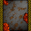 Perforated metal background with holes, rust and warning stripes over fire, hot lava or melted metal0 — Stock Photo