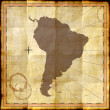 South America on old paper with coffee stains — Foto de Stock