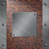 Brushed aluminum frame and plate bolted to a perforated metal over fire, hot lava or melted metal — Stock Photo