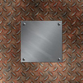 Brushed aluminum plate bolted to a grudge and rusted diamond metal background — Stock Photo