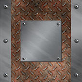 Placa e moldura de alumínio escovado aparafusado ao rancor e enferrujado metal fundo de diamante — Foto Stock
