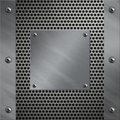 Brushed aluminum frame and plate bolted to a perforated metal background — Stock Photo
