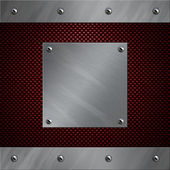 Brushed aluminum frame and plate bolted to a carbon fiber background — Stock Photo