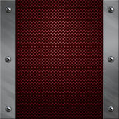 Brushed aluminum frame bolted to a carbon fiber background — Stock Photo