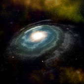 Blue spiral galaxy against black space — Stock Photo