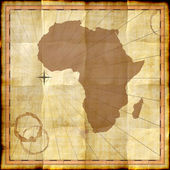 Africa map on old paper with coffee stains — Stock Photo