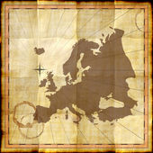 Europe map on old paper with coffee stains — Stock Photo