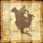 North America map on old paper with coffee stains — Foto Stock
