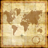 World map on old paper with coffee stains — Foto Stock
