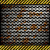 Perforated rusted metal background with warning stripes — Stok fotoğraf