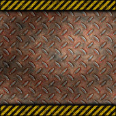 Grudge and rusted diamond metal background with warning stripes — Stock Photo