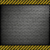 Perforated metal background with warning stripes — Stock Photo