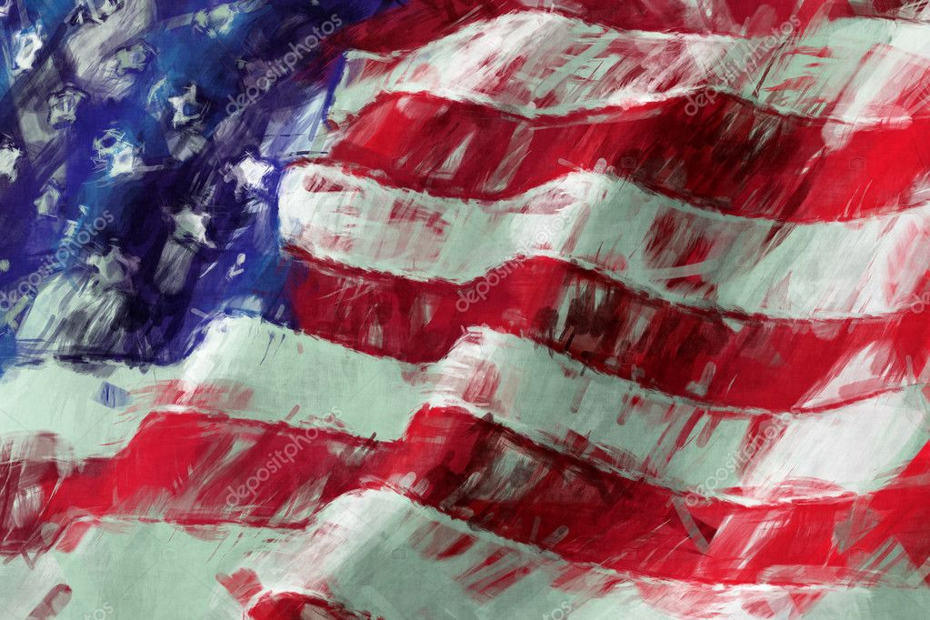 USA flag abstract painting  Abstract American Flag Painting