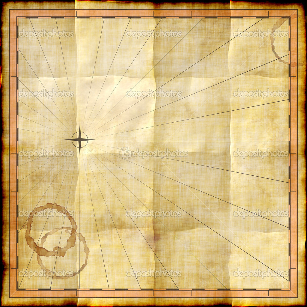 Empty map template on old paper with coffee stains — Stock Photo ...