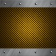 Stock Photo: Brushed aluminum frame bolted to a golden carbon fiber background