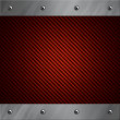 Brushed aluminum frame bolted to a red carbon fiber background — Stock Photo