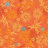 Saemless floral pattern orange and blue flowers — Stock Vector