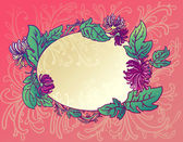 The oval background with pink flowers chrysanthemums — Stock Vector