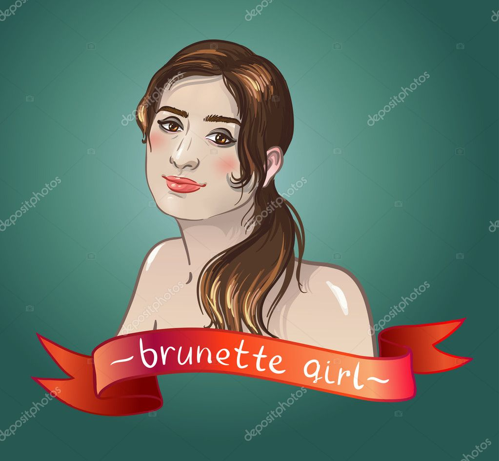 Sexy brunette girl smiles. Caucasian type of face.  red banner for text — Stock Vector #10671812