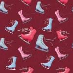 Постер, плакат: Seamless texture skates for figure skating burgundy background and scrat