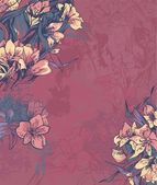 Beautiful dark pink background with flowers — Stock vektor