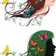 Girl with flowers and butterflies in her hair — Stock Vector