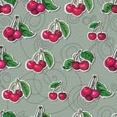Seamless texture - bright cherry fruit vector — Stock Vector