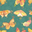 Seamless texture with butterflies and flowers - Image vectorielle